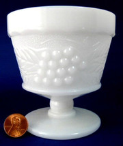 Grape And Leaf Milk Glass Sherbet Anchor Hocking Vintage Mid Century 1950s - $8.00