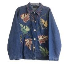 Womens Vintage New Directions M Appliqued Leaves Silver Button Denim Shirt - $17.82