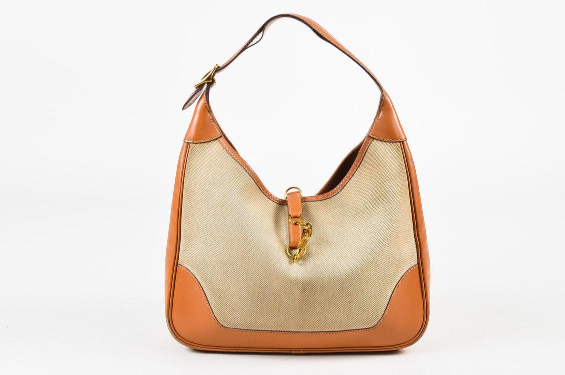 """VINTAGE Hermes Beige Tan Box Calf Leather Canvas """"Trim I"""" Shoulder Bag"""
