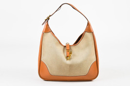 "VINTAGE Hermes Beige Tan Box Calf Leather Canvas ""Trim I"" Shoulder Bag - $1,005.00"