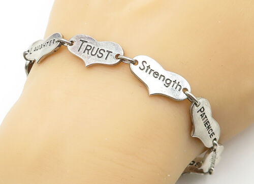 925 Sterling Silver - Vintage Etched Inspirational Words Chain Bracelet - B6324