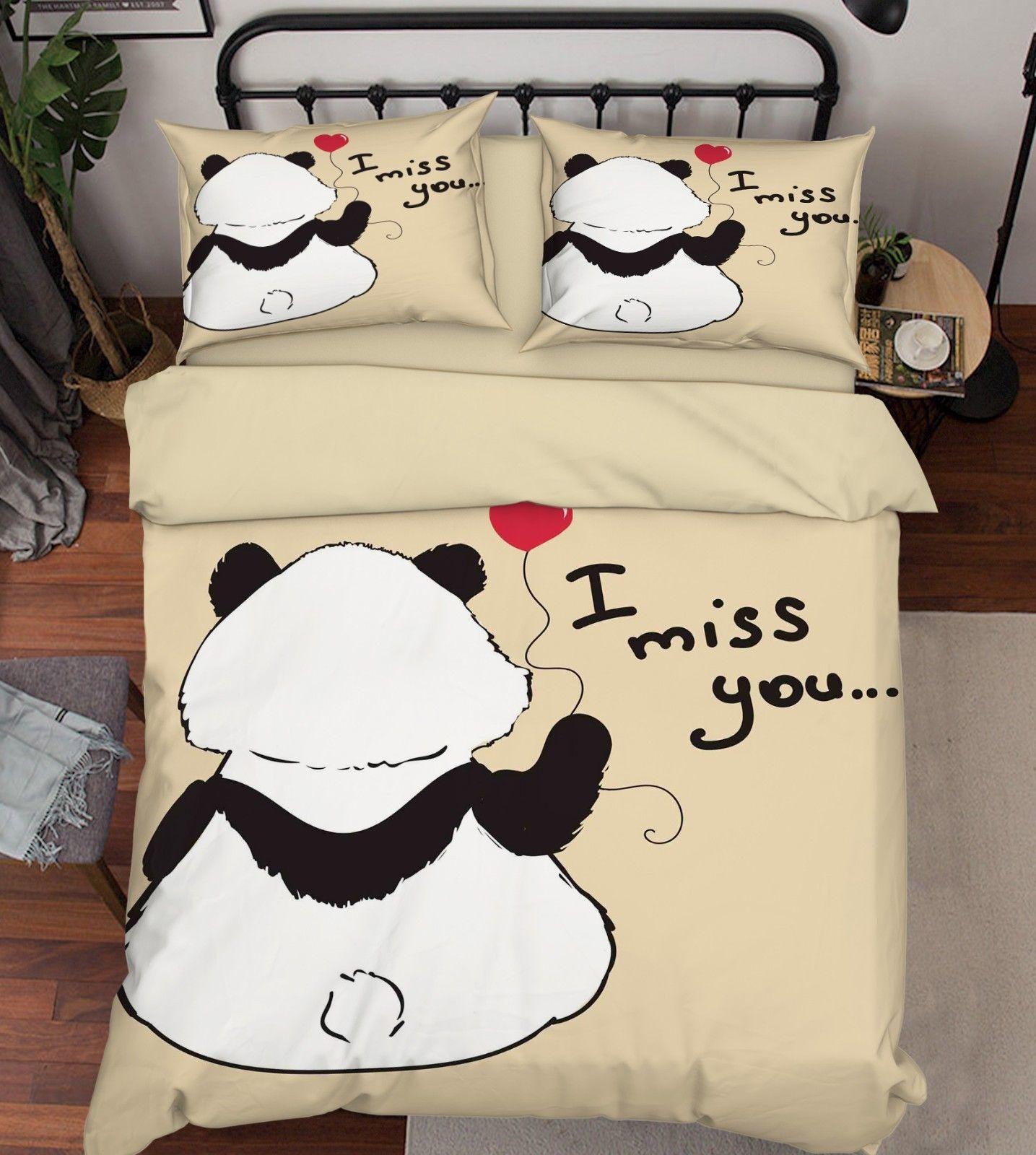3D Panda Cartoon 26 Bed Pillowcases Quilt Duvet Single Queen King US Lemon - $102.84 - $158.94