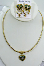 Park Lane signed gold tone metal Necklace & Earrings Set Heart Enamel crystal - $67.32