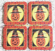4 Longaberger Basket WINKY WITCH KIN Coasters Deb Strain Happy Halloween New - $14.25