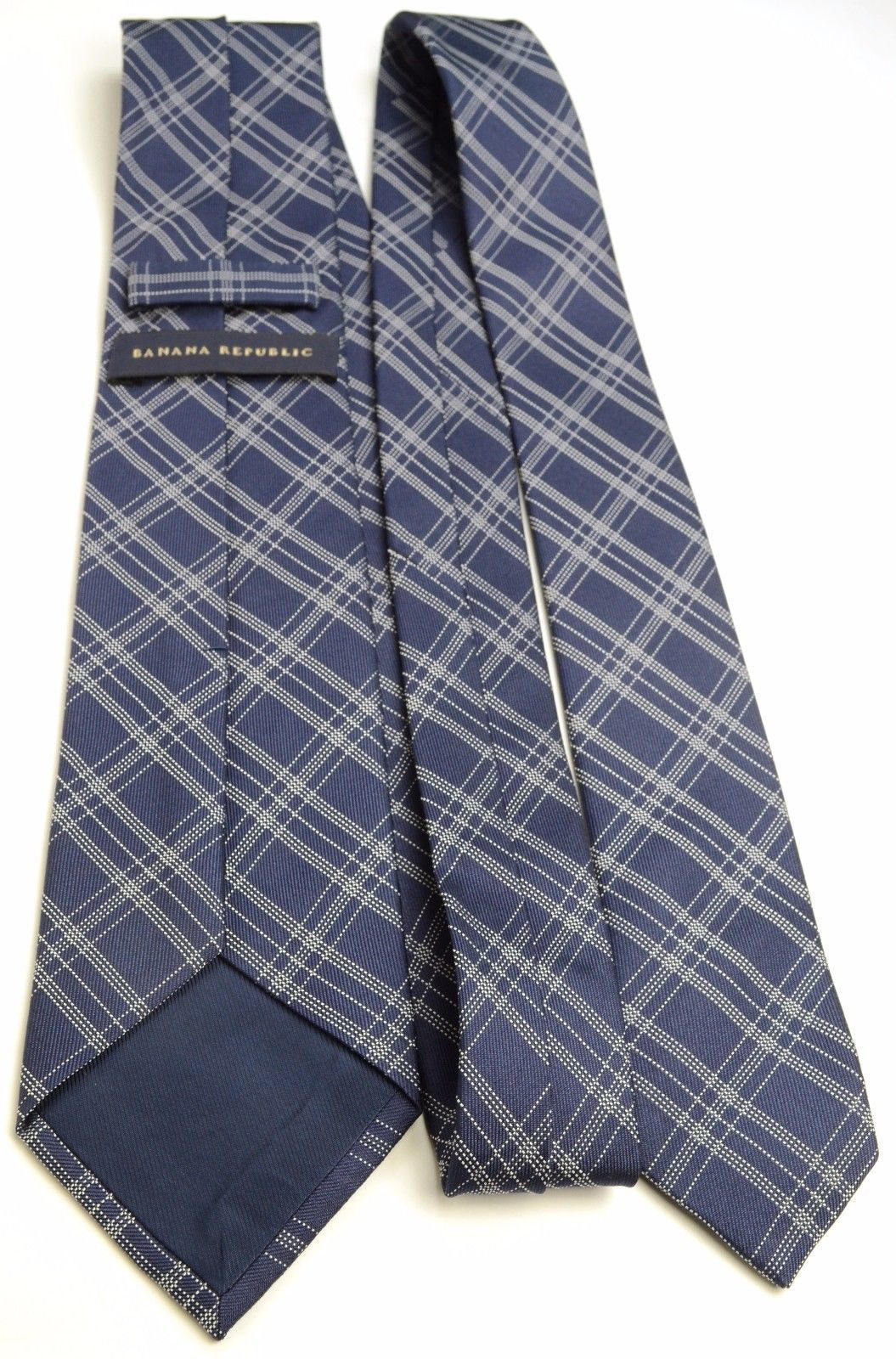 Navy Plaid Silk Tie | Banana Republic Blue Slim Necktie