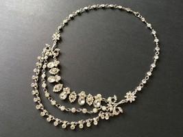 Chandelier necklace, dangly necklace, rhinestones necklace, crystals nec... - $28.88