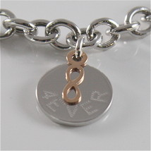 925 RHODIUM SILVER JACK&CO BRACELET WITH 9KT ROSE GOLD INFINITY  MADE IN ITALY image 2