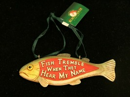 New Kurt Adler hand-painted trout resin fisherman funny Christmas ornament - $15.79
