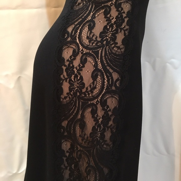 Jones New York Black side lace sleeveless long full length dress 6