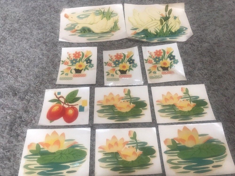 11 Vintage Meyercord Transfer Decal Decoration Walls Chicago Ill Swans Lilly Pad