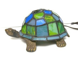 Vintage Stained Blue Green Glass Turtle Iron Bronze Metal Desk Lamp Nigh... - $39.95