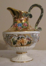 """7"""" Tall  R. Capodimonte Gilded Ewer   w/ nude Cherubs and Roses - $64.85"""