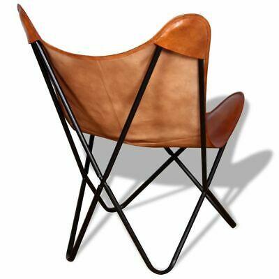 vidaXL Butterfly Chair Vintage Real Leather Brown Hide Sleeper Seat Lounge image 3