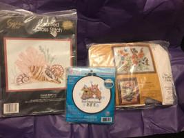 "Cross Stitch Lot Conch Shell"" Kit Best Friends & Embroidery Kit 3 Piece Lot - $8.79"