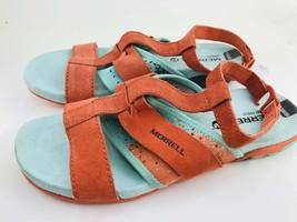 Merrell Sandal Womens 7 Coral Pink Blue Open Toe Sneaker Outdoor Comfort Walking - $56.95