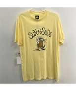 NWT Mens Size Large Quiksilver Sun n Suds Beer Yellow Tee T Shirt Top - $14.69