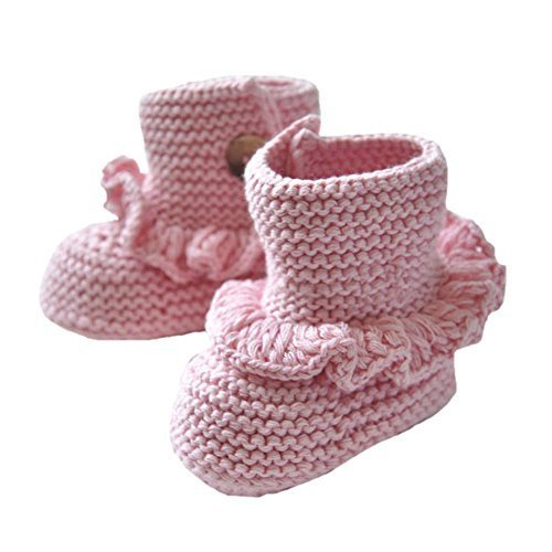 Baby Handmade Crochet Shoes Knit Winter Sock Boot Keepsake Gift 11CM Pink