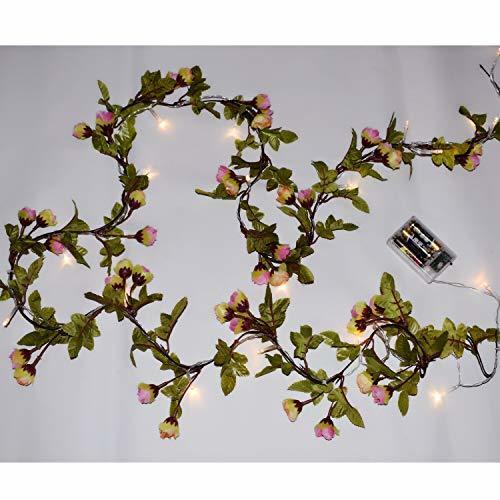 MeeDoo 20LED Artificial Flower Rose Vine String Lights, Battery Powered Rose Flo