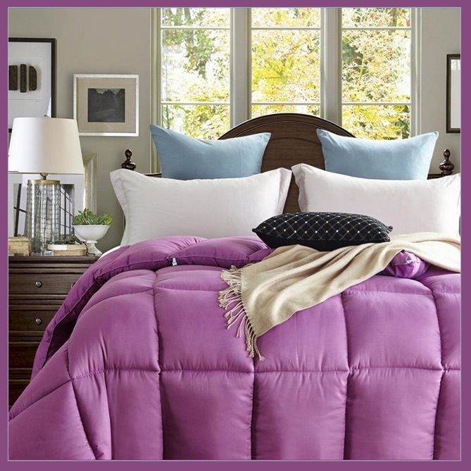 King Size Purple Jacquard Weave Silk Quilted White Duck Down Duvet Comforter