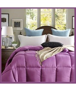 King Size Purple Jacquard Weave Silk Quilted White Duck Down Duvet Comfo... - $289.95