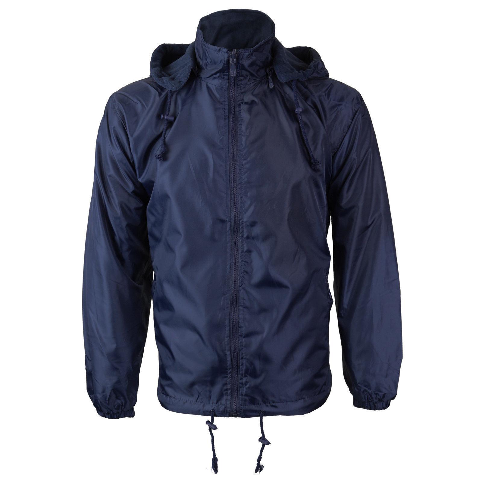 Men's Water Resistant Fleece Lined Hooded Windbreaker Rain Jacket NEW W/ DEFECT
