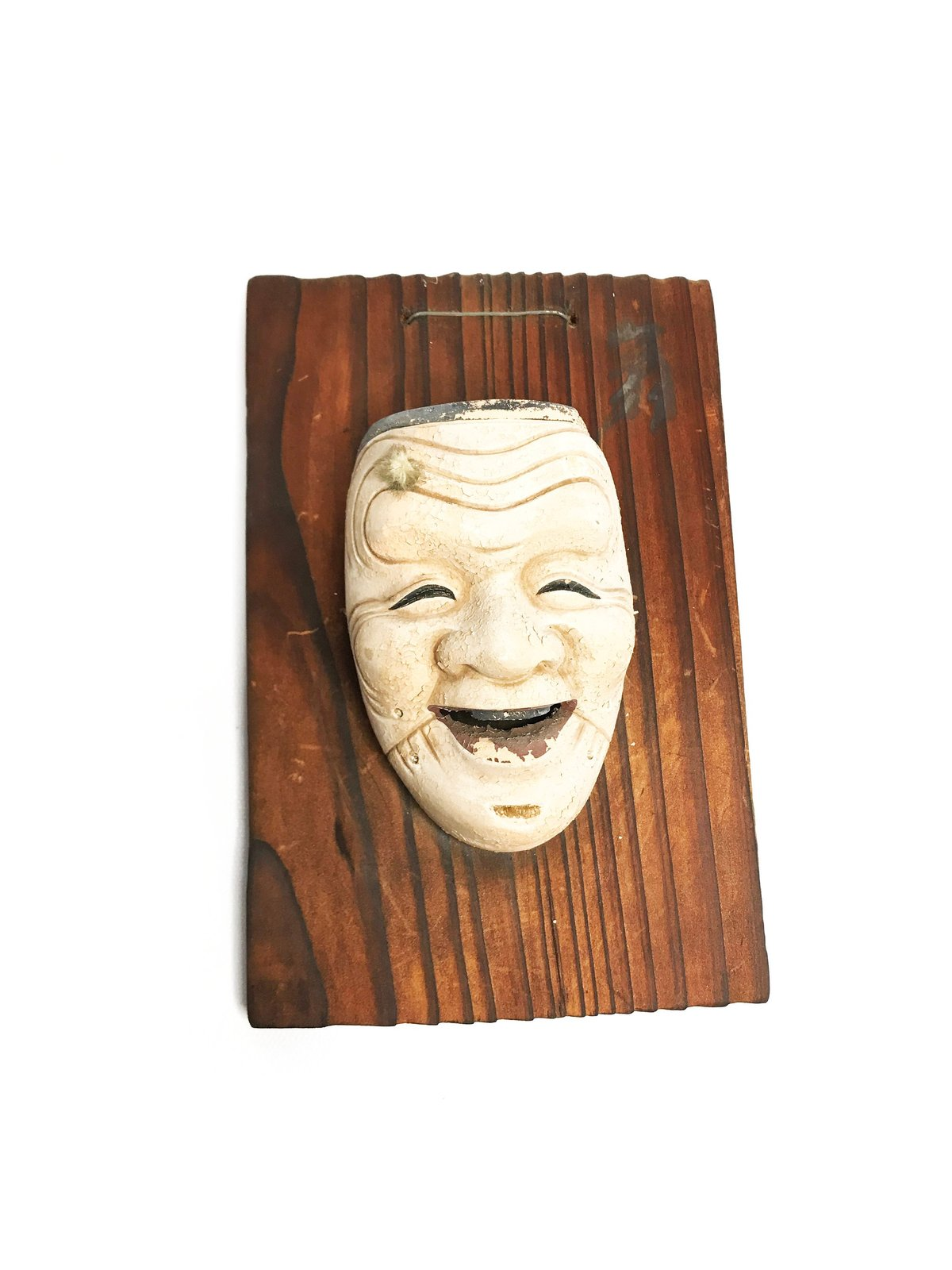 Vintage mid century WWII authentic Japanese Hakata Uraski Doll mask wall hanging