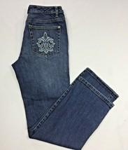 Talbots Petites Women Jeans Stretch Medium Wash Embellished Denim Pocket... - $19.19