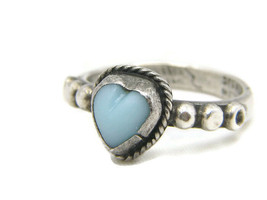 Turquoise Heart Sterling Silver Ring Size 3.5 Morales Medrano Mexico 925... - $45.00