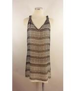 Charlie Jade Sz Large Silk Black Beige Print Tank Dress - $9.89