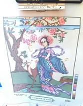 "Flower Gathererl Needlepoint Canvas 14"" x 18"" DMC 13 Count Monolock  - $19.25"