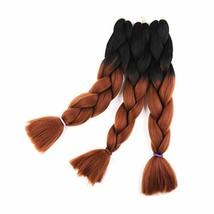 Braid Hair Extensions Black to Dark Brown 24 inch Braiding Hair High Temperature