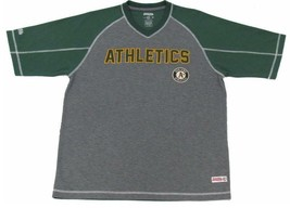 Mens Stitches Green & Gray Oakland Athletics MLB Performance Raglan T-sh... - $22.99