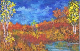 Original Birch Tree Autumn Art SFA Pat Adams Landscape Painting Pond Wat... - $34.65
