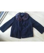 Ladies Fur Collar Car Coat Vintage Brocade Patt... - $74.19