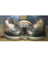 Set of Bronze New baby shoes plaque Extra Real Worn Shoe Old Vintage 1960 Holder - $22.51