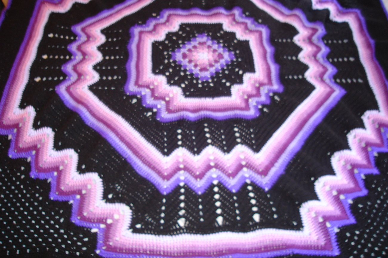 Crocheted king size afghan/bedspread multi purples/black granny/ripple