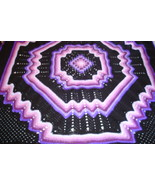 Crocheted king size afghan/bedspread multi purples/black granny/ripple - $150.00