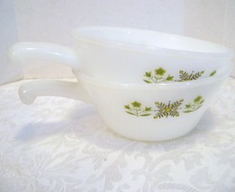 FIRE KING MEADOW GREEN HANDLED CASSEROLE CHILI OR SOUP BOWLS  - $10.00