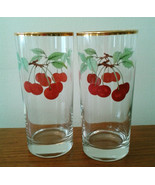"""NEW Two Glasses Evesham Gold Royal Worcester Red Cherries Clear 6"""" Tall ... - $21.95"""