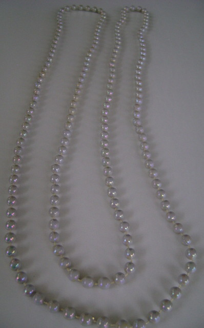 Necklace, 1 Strand of Gray Irridescent Beads