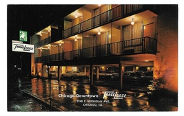 IL Chicago TraveLodge Motel Downtown Night Vintage Postcard Advert - $4.99