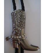 Bolo Tie, Silver Trimmed Boot Slide w/Rhinestones  - $10.00