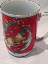 OTAGIRI Gold Edge Poinsettia Mug Christmas Holiday Japan Gibson Greetings - $29.21