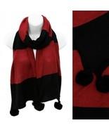 Scarf Red Black Knit w/ Pom-Pom Trim Two Tone Soft Weave Wrap - $22.02