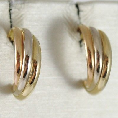 EARRINGS CIRCLE YELLOW GOLD, WHITE AND PINK 750 18K, TWISTED THREE COLORS