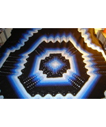 Crocheted king size afghan/bedspread multi blues/black granny/ripple - $150.00