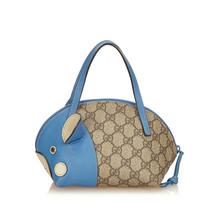 Pre-Loved Gucci Brown Beige PVC Plastic Guccissima Handbag Italy - $410.47