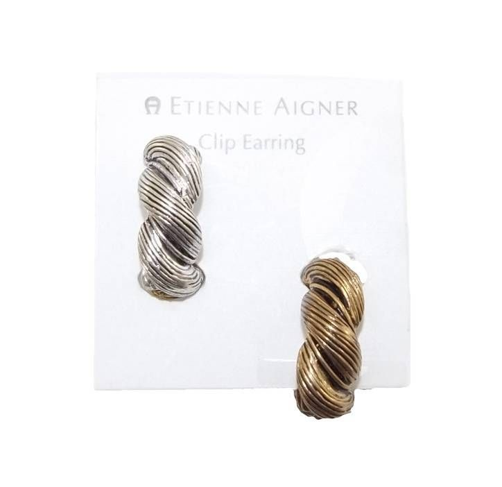 NEW ETIENNE AIGNER GOLD & SILVER REVESIBLE BRAIDED BRAID EARRINGS CLIP ON MAGNET