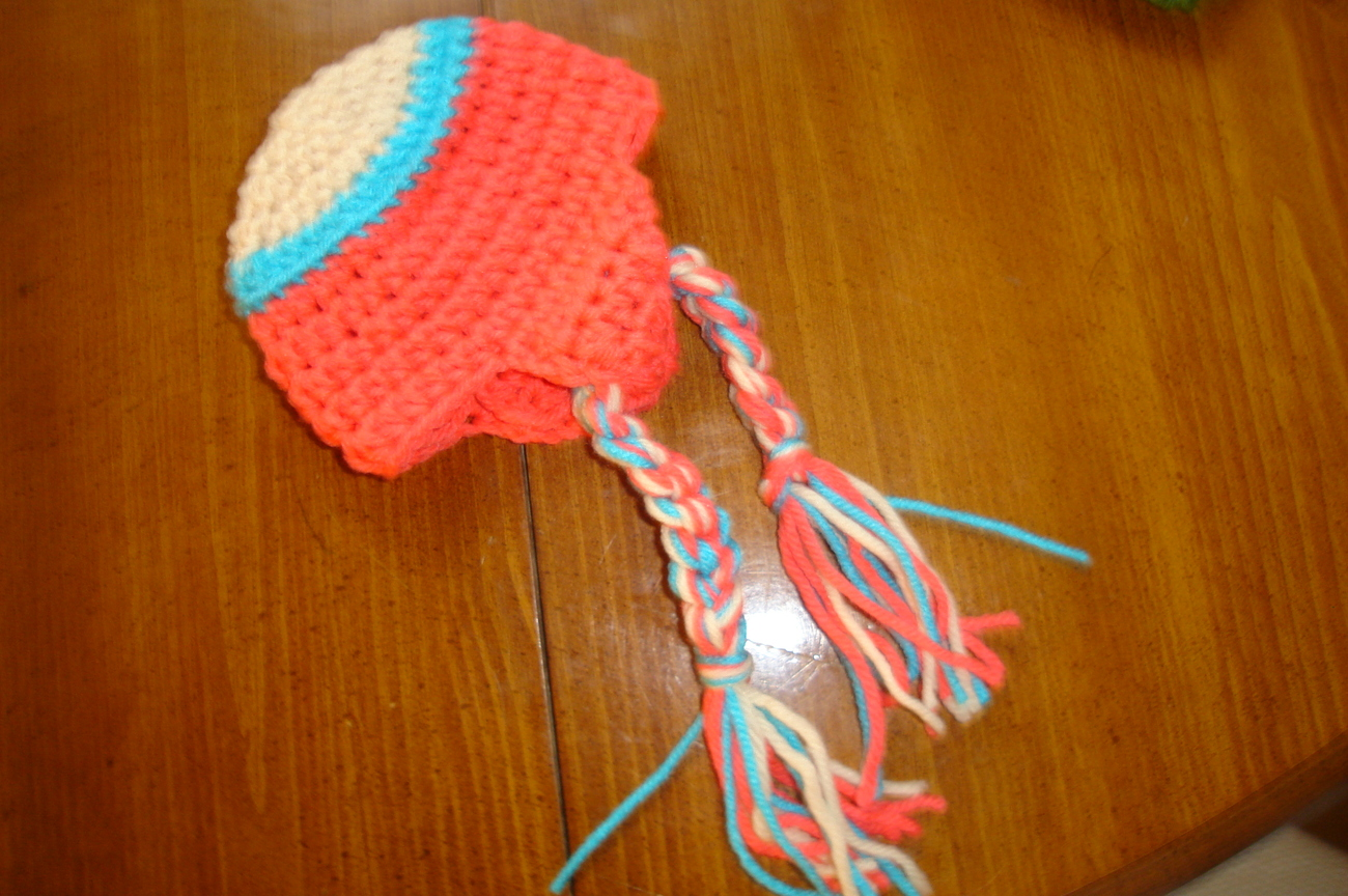 Hand crocheted  beanie/cap/earflap hat photography prop for baby/infant