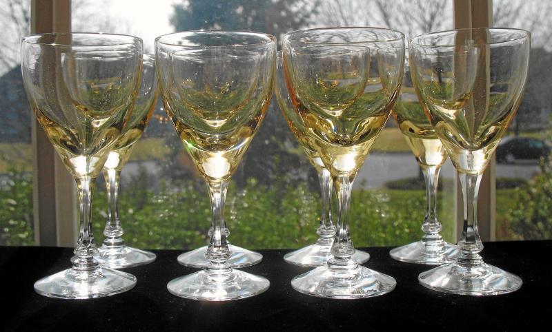 Elegant Vintage Yellow/Topaz Cordial Stems - Set of 8